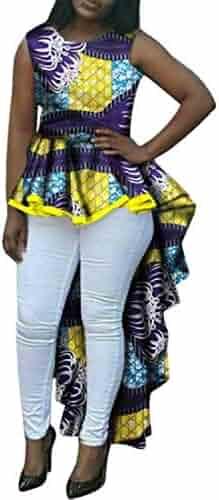 e96baf82066 Winwinus Women Dashiki Swallowtail African Print Flounced Fit Club Party  Dress