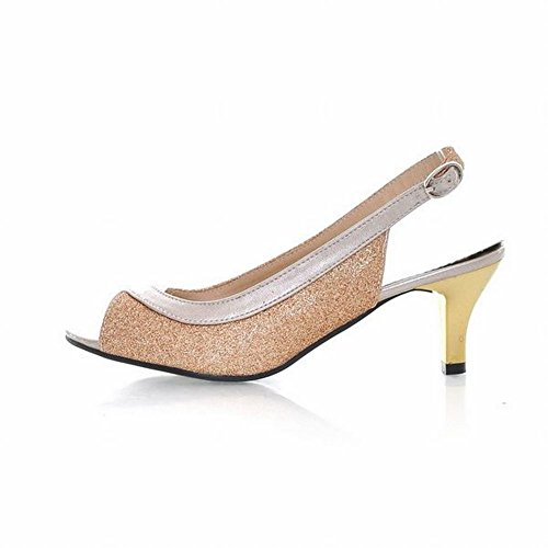 Carolbar Women's Fashion Charm Mid Heel Peep Toe Slingback Court Shoes Gold mYTzm0y