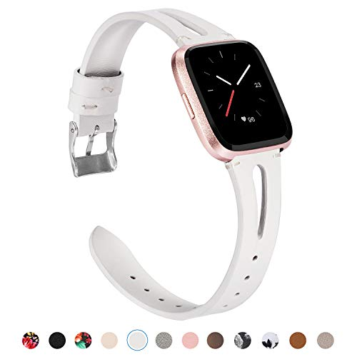 - TOYOUTHS Leather Strap Compatible with Fitbit Versa Bands for Women Men Slim Genuine Leather Wristbands with Ventilated Hole Replacement for Versa Lite Special Edition Accessories White
