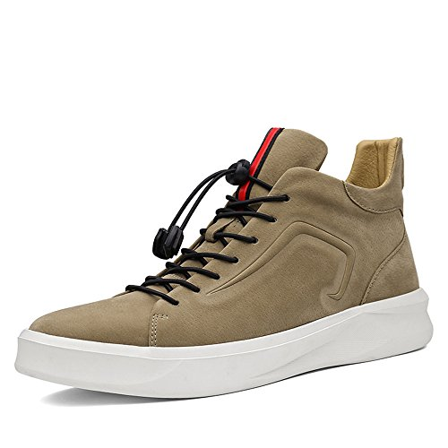 Sunrolan Uomo In Pelle Scamosciata Moderna Moda High-top Outdoor Sneakers Da Running Sportive Scarpe Scamosciate Beige