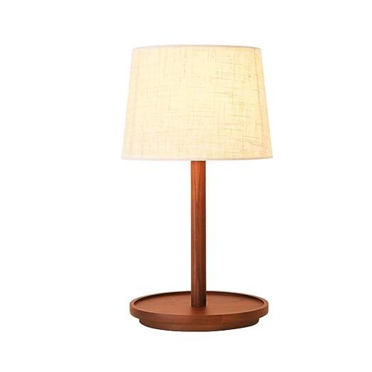 XIGE Lámpara de Mesa de Madera nórdica LED Tela Lámpara de ...