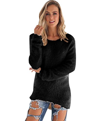 Maille Chaud Femme Longues Mohair Robe Hiver Pull Pull Epais Col Long Tunique Manches Habill Pull Rond 5FaxxEzqw