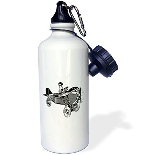 3dRose Florene Retro - Image of Retro Toy Air Mail Plane with Little Boy - 21 oz Sports Water Bottle (wb_245227_1)