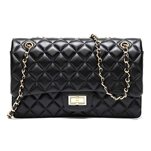 H.MAY Genuine Soft Leather Quilted Chain Purse Shoulder handbag Hobo bag (Medium (25CM), Black) ()