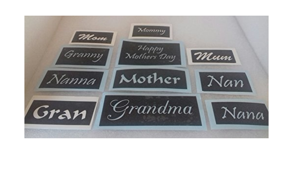 10 x Nanny word stencils for etching on glass present gift Mothers Day Nan Nanna
