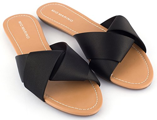 - Mio Marino Slide Sandals For Women, Satin Crossband Lady Knot womens slides Enclosed In A Gift Box