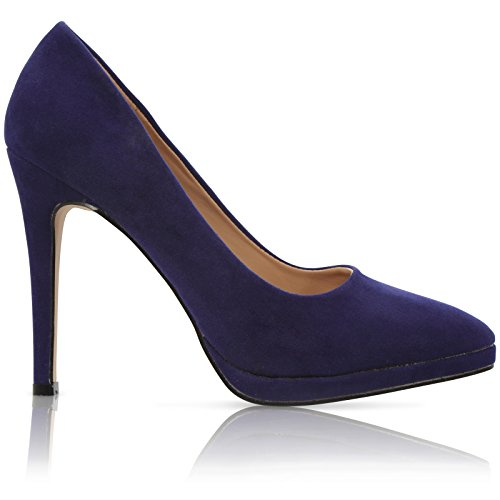 Heel Womens New UK Stiletto Platform 3 8 CORE Shoes COLLECTION Blue Suede Size Pointed Court HIGH PqEIYw5