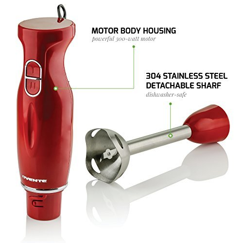 Ovente Multi-Purpose Blender, 300-Watt Hand 2 Speeds, Steel Shaft,
