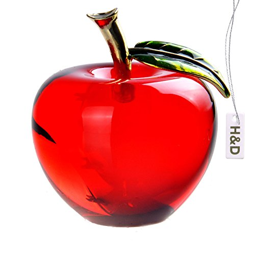 H D Glaze Crystal Apple Paperweight Craft Decoration  Red