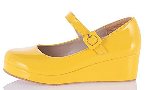 IDIFU Womens Sweet Round Toe Wedge Mid Heels Buckled Mary-Jane Shoes Pumps With Strap Yellow cOhhe6FE