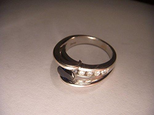 Gorgeous Estate 14K White Gold Sapphire Diamond Tension Band Ring (Sapphire Ring Estate Diamond)