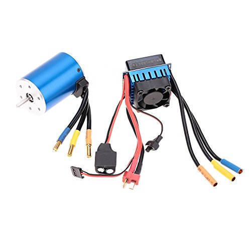 Nimh Power Battery Hi (FastWin 3650 3100KV/4P Sensorless Brushless Motor with 60A Brushless ESC(Electric Speed Controller)for 1/10 RC Car Truck (3650 3100KV+60A))
