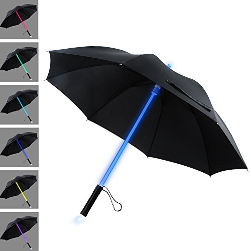 YIER LED Lightsaber Light Up Black Clear Umbrella with 7 Color