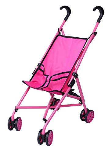 Precious Toys Hot Pink & Black Handles Doll Stroller with Swiveling ()