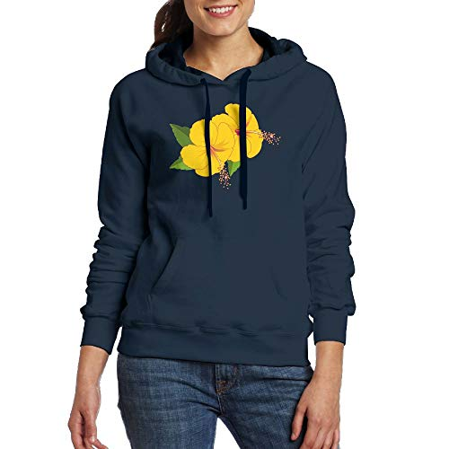 Lamont Rhea Women's Yellow Flowers Fashion Long Sleeve Sweatshirt Pullover Hoodies with Pocket Navy S