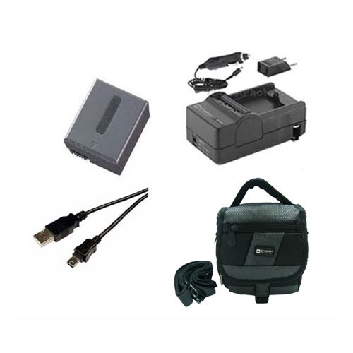 Sony DCR-IP55 Camcorder Accessory Kit includes: SDC-27 Case, SDM-102 Charger, SDNPFF70 Battery, USB5PIN USB Cable ()
