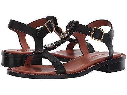 Coach Women's Tea Rose T Strap Sandal - Leather Black 6 B US