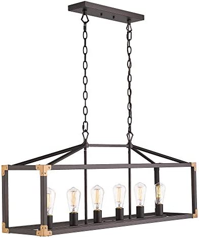 Zeyu 6-Light Dining Room Lighting Fixtures, Modern Island Lights for Kitchen, Oil Rubbed Bronze Finish, 101-6 ORB
