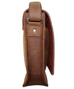 "Secuda Vintage Men's Cowhide Leather Shoulder 13"" Laptop iPad Tablet PC Bag / Case School Bag Messenger Satchel Brown from SECUDA"
