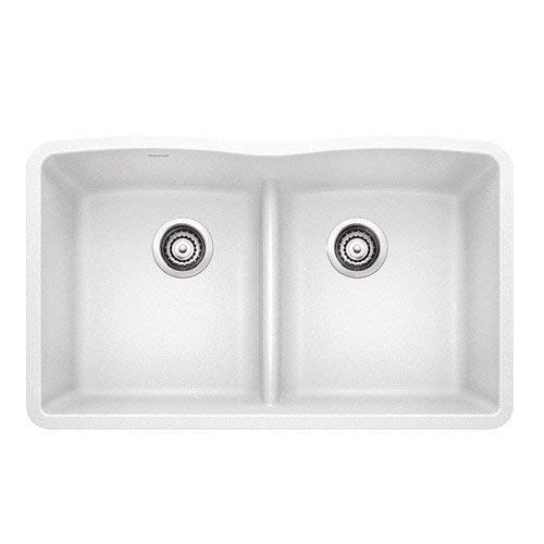Blanco 442074 Diamond Equal Double Low Divide Undermount, Wh