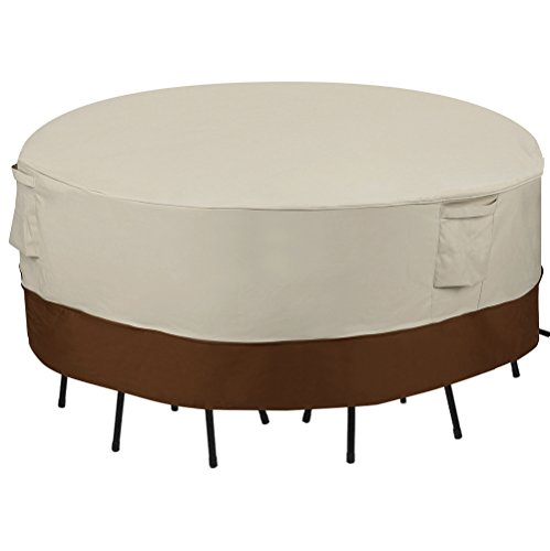 SONGMICS Outdoor Round Patio Table and Chairs Cover, Waterproof Windproof Diameter up to 70 Inches, UGTC72M (Round Furniture Patio Outdoor)
