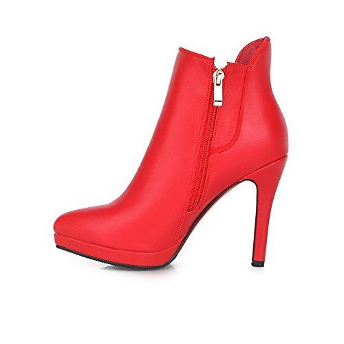 VogueZone009 Damen Stiletto Niedrig-Spitze Spitz Zehe PU Leder Stiefel, Rot, 41