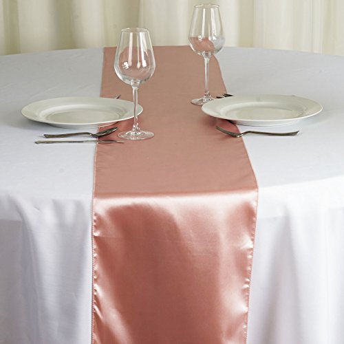 BalsaCircle 10 pcs 12 x 108-Inch Mauve Satin Table Top Runners - Wedding Party Event Reception Occasions Linens -