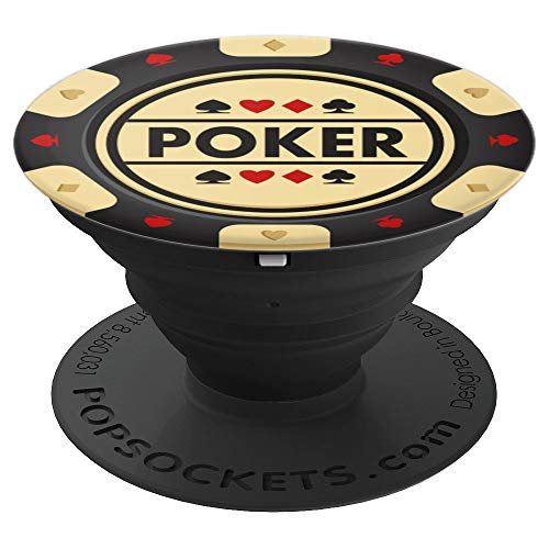Black & Cream Poker Chip for Texas Hold em Players - PopSockets Grip and Stand for Phones and Tablets