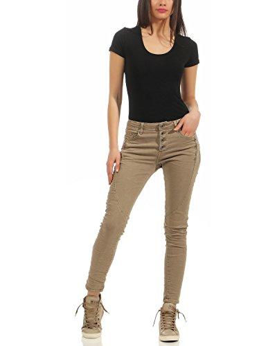 Jeans Bouton Zarmexx Avant Xl Baggy Beige Femmes Chino Dames Slimline Maigres Tube xs Stretch Pantalon Hipsters 6192 Denim Avec qw57Hx4wA