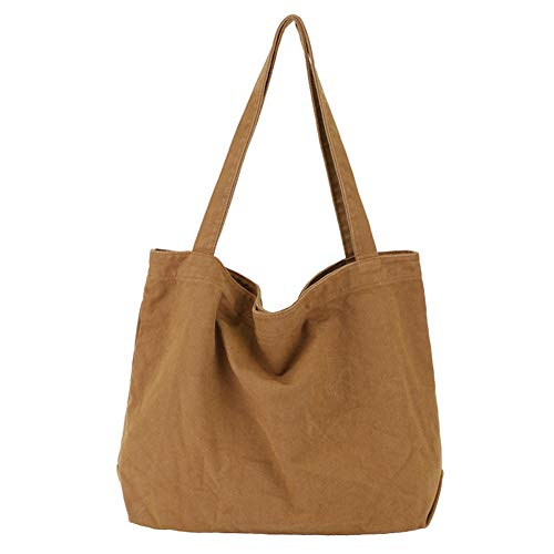 BOBILIKE Women Shoulder Bags Canvas Handbag Work Bags Schoolbag, Brown