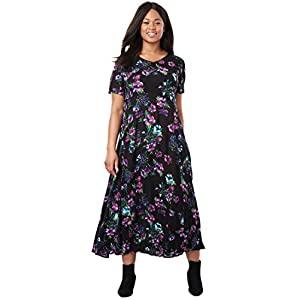 f4cd80fafe685 Woman Within Plus Size Petite Crinkle Dress – Black Painterly Floral