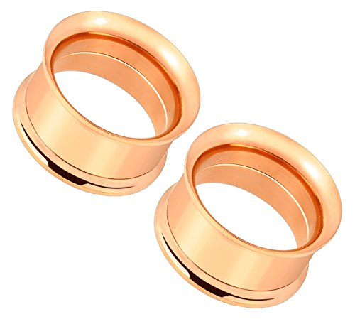 - Rose Gold IP Plated Double Flared Screw Fit Tunnel Plugs - Sold as a Pair (22mm (7/8