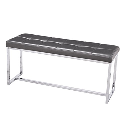DecentHome Modern Design Stainless Steel Frame Ottoman Bench Footstool (Grey Leather I) - Leather Steel Bench
