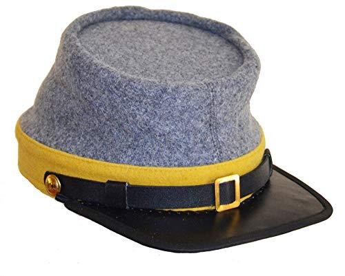 US Civil War CS Cavalry Yellow Band Leather Peak kepi - Civil War Hats Cavalry