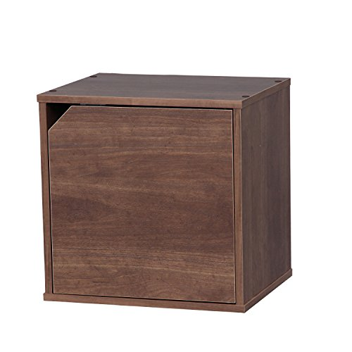 IRIS Baku Modular Wood Cube Box with Door, Brown (Corner Tv Units Small)
