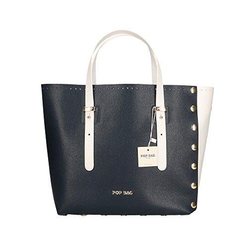 à véritable Sac in cuir Bags Blanc 28x27x13 Italy POP femme Saffiano main Blanc Bleu Made en Impression Cm 0xEnAqRw1