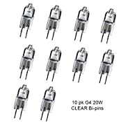 10 pack BEELITE Halogen Lamp Q20/G4/CL 12V 20 Watt T3 JC Type 12 Volt ClearG4 Bi-pin Base Light Bulb