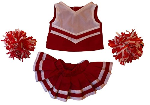 White Cheerleader Outfit - Cheerleader Outfit Teddy Bear Clothes Fit 15 inch Build-A-Bear, Vermont Teddy Bears, American Girl Doll and Make Your Own Stuffed Animals (Red and White)