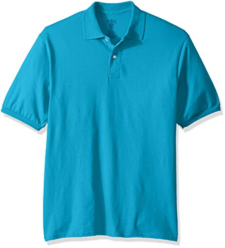 Jerzees Men's Spot Shield Short Sleeve Polo Sport Shirt, California Blue, Medium