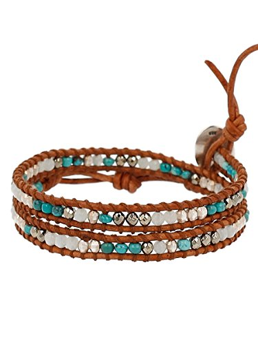 Chan Luu Sterling Silver with Turquoise Stone Mix Double Wrap Tan Leather Bracelet ()