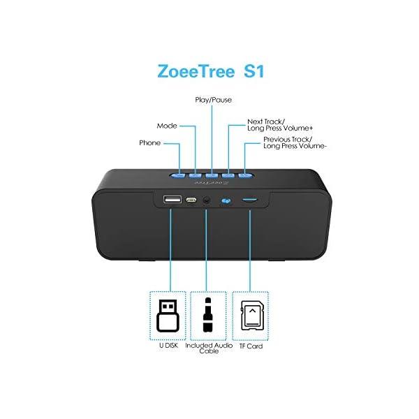 ZoeeTree S1 Haut-parleur Bluetooth sans fil, Extérieur, Enceinte stéréo avec Audio HD et Basses Amélioré, Intégré Double Pilote Haut-parleur, Bluetooth 4.2, Mains Libres Téléphone et TF - Blue 3
