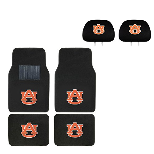 MULTI_B University of Auburn Head Rest Cover and Floor mat. Wow! Logo On Front and Rear Auto Floor Liner. You get 2 headrest Covers and 4 Floor Mat in This Gift Set. Perfect to Auburn Tigers Fan