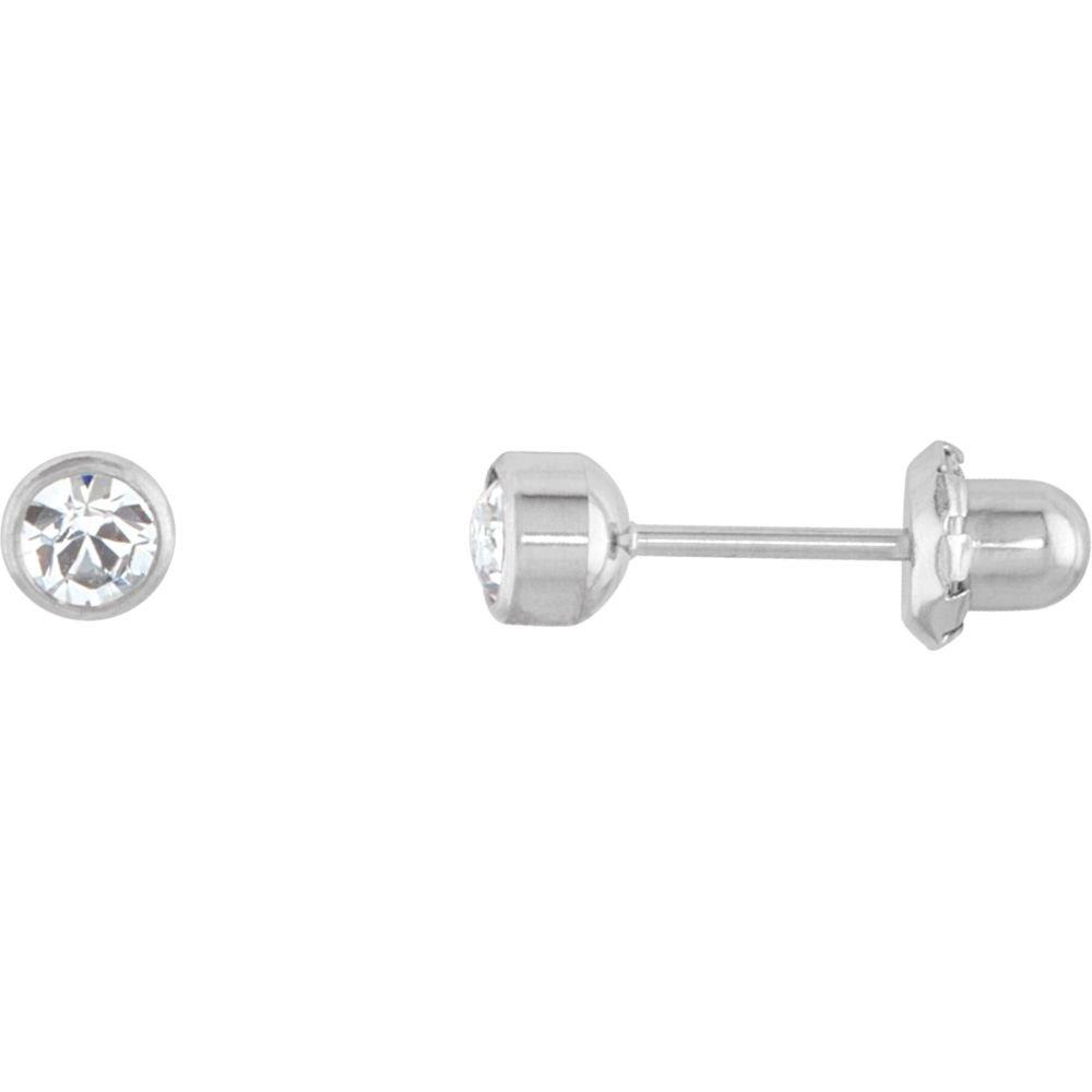 Titanium Crystal Bezel Set Piercing Earrings