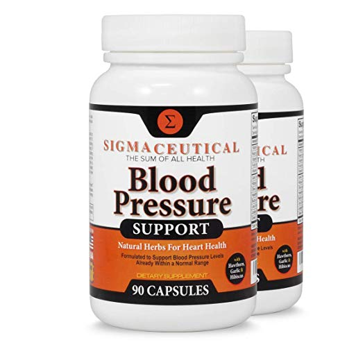 2 Pack of Premium Blood Pressure Support Formula - High Blood Pressure Supplement w/Vitamins, Hawthorn Extract, Olive Leaf, Garlic Extract & Hibiscus Supplement - 90 Capsules ()