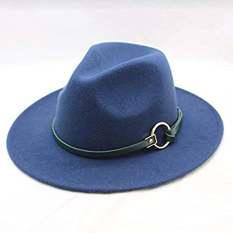 658d698e6949b Amazon.com  Blue Stones Winter Fedora Hat with Women s Wide-Brimmed Metal  Strap Felt Men Fedora Hat Panama Hat Vintage Caps Chapeau Femme  Kitchen    Dining