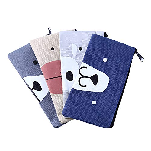 Funny live Set of 4 Bear's Nose Pen Bag Pencil Case Oxford Cloth Pencil Bag Simple Stationery Bag Student Stationery Pencil Case Dark Grey,Beige,Blue,Gray ()