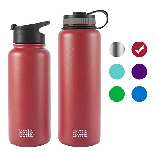 bottlebottle 40 oz Insulated Stainless Steel Water Bottle with Bonus Lid, Double Wall Vacuum Sealed Flask, Wide Mouth, BPA Free, Cold 24 Hrs/Hot 12 Hrs - Bordeaux Red