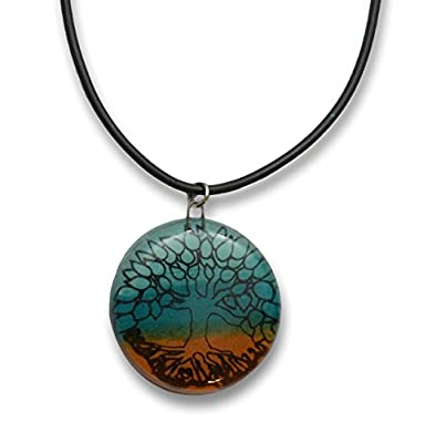 Hand Crafted Artisan Fused Art Glass Tree of Life Necklace