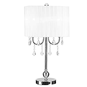 Catalina Lighting 19519 003 Glam Catalina White U0026 Chrome Chandelier Acrylic  Accent Table Lamp, Silver