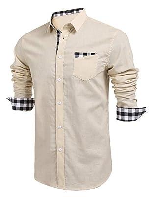 JINIDU Men's Essential Cotton Long Sleeve Button Down Cotton Plaid Casual Shirts